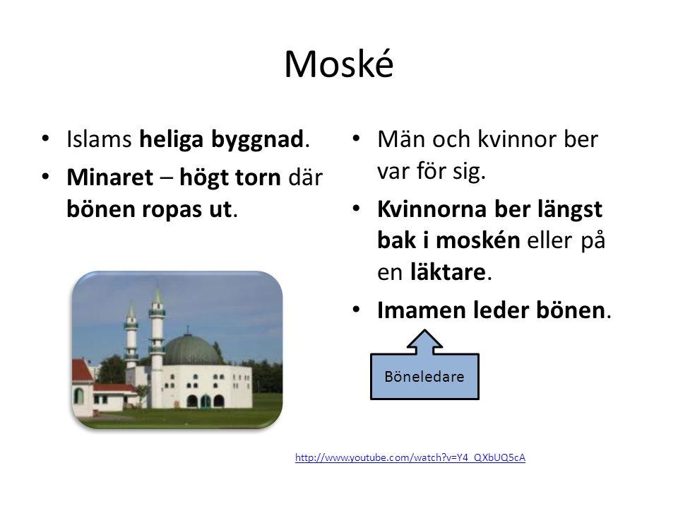 Moské Islams heliga byggnad. Minaret – högt torn där bönen ropas ut.