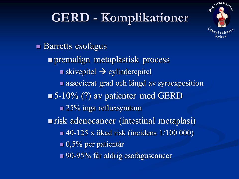 GERD - Komplikationer Barretts esofagus premalign metaplastisk process