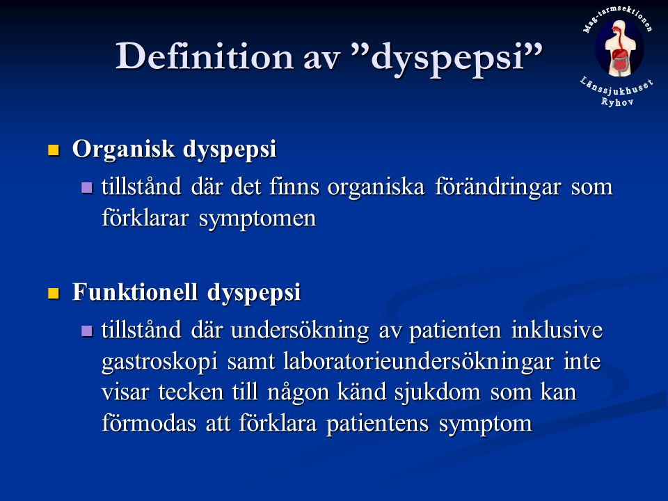 Definition av dyspepsi