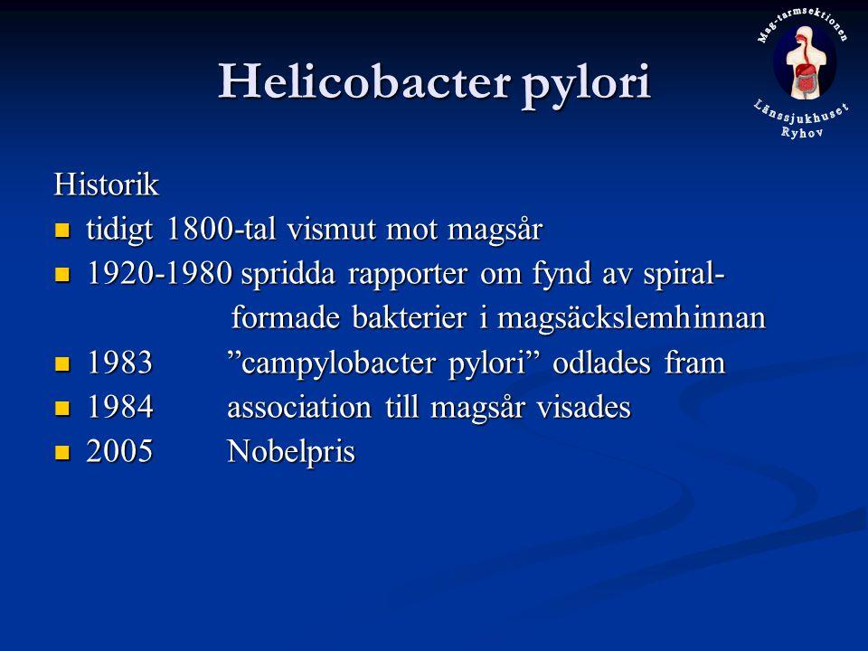 Helicobacter pylori Historik tidigt 1800-tal vismut mot magsår
