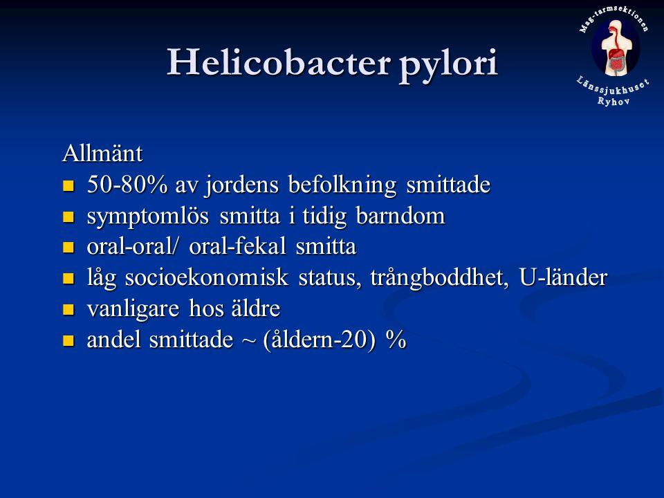 Helicobacter pylori Allmänt 50-80% av jordens befolkning smittade