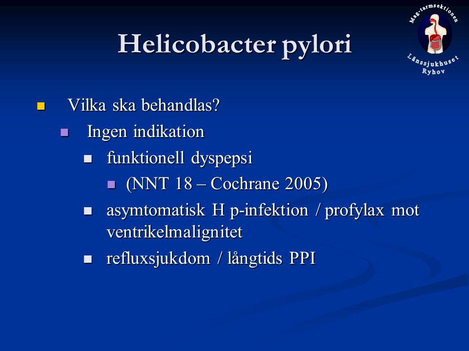 Helicobacter pylori Vilka ska behandlas Ingen indikation