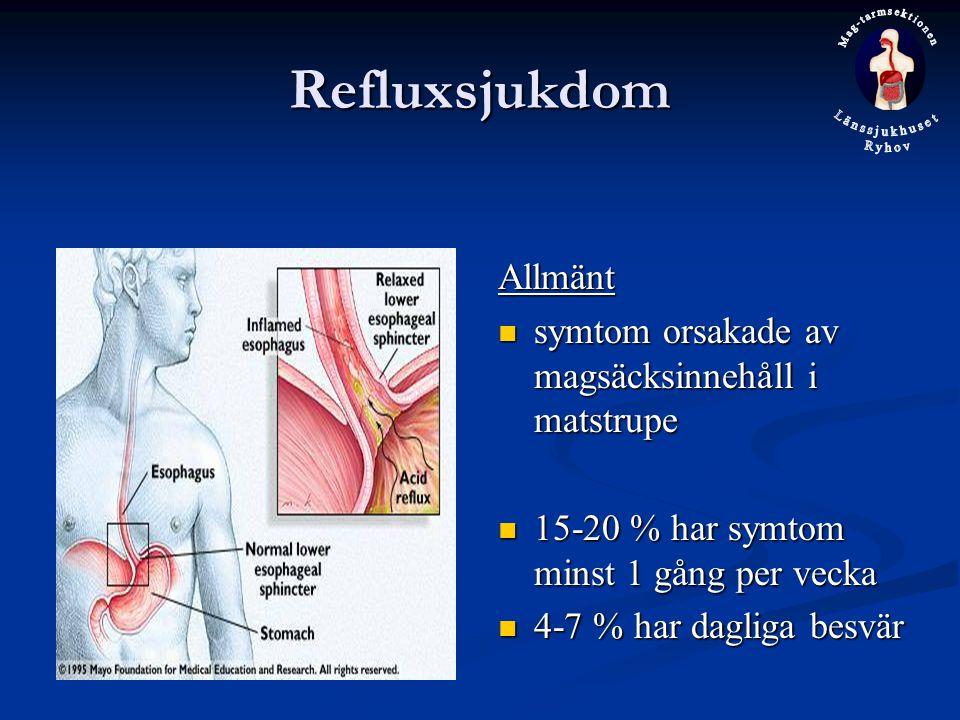 Refluxsjukdom Allmänt symtom orsakade av magsäcksinnehåll i matstrupe