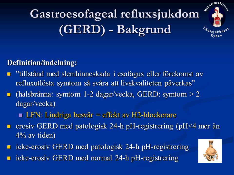 Gastroesofageal refluxsjukdom (GERD) - Bakgrund
