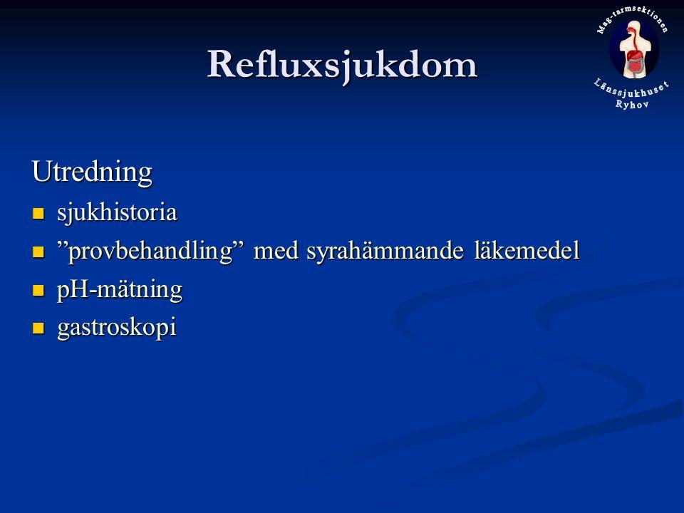 Refluxsjukdom Utredning sjukhistoria