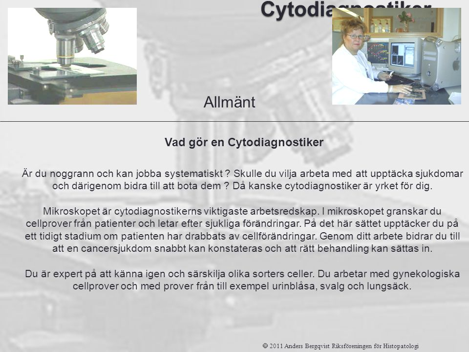 Vad gör en Cytodiagnostiker