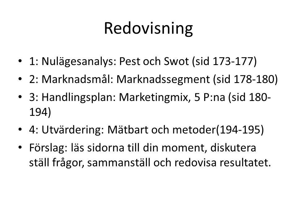 Redovisning 1: Nulägesanalys: Pest och Swot (sid 173-177)