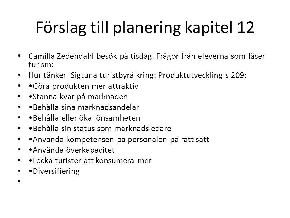 Förslag till planering kapitel 12