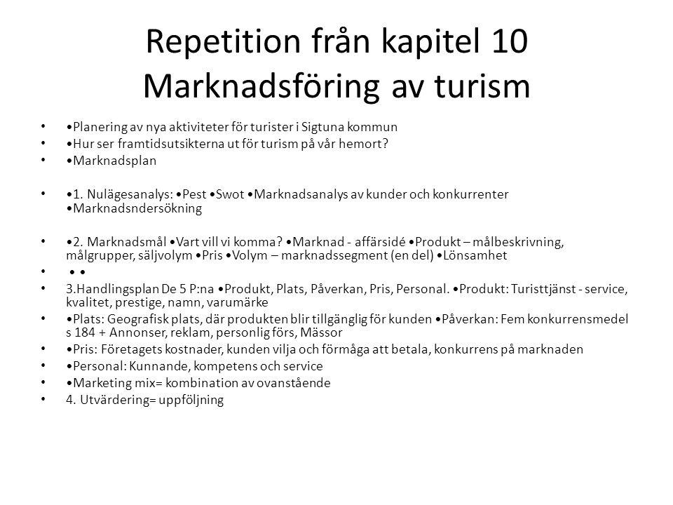 Repetition från kapitel 10 Marknadsföring av turism