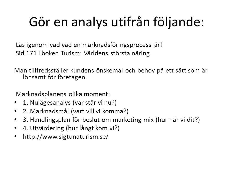 Gör en analys utifrån följande: