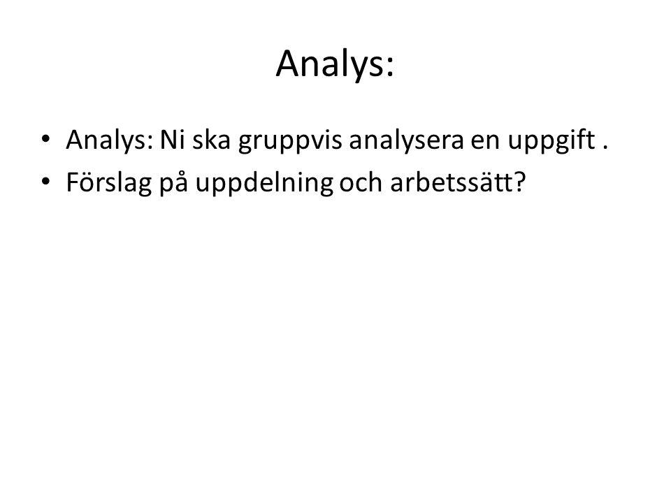 Analys: Analys: Ni ska gruppvis analysera en uppgift .