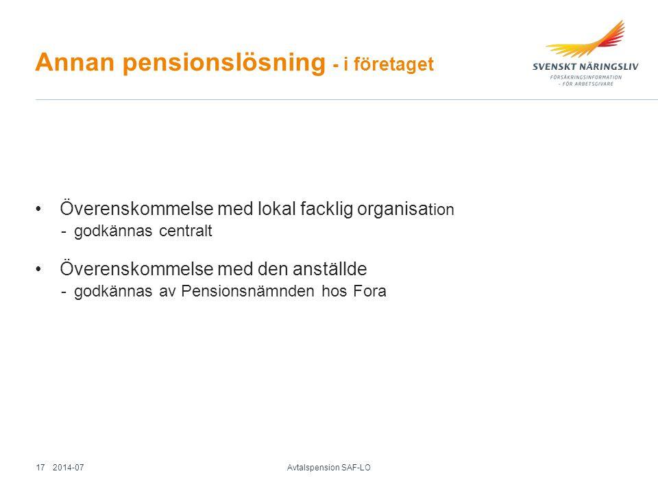 Annan pensionslösning - i företaget