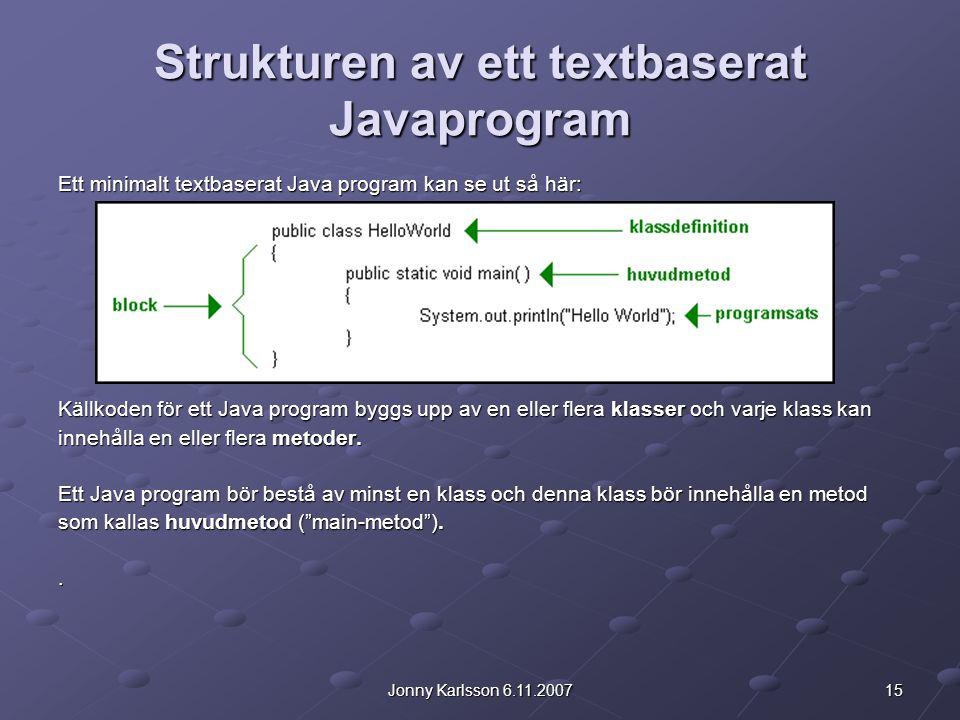 Strukturen av ett textbaserat Javaprogram