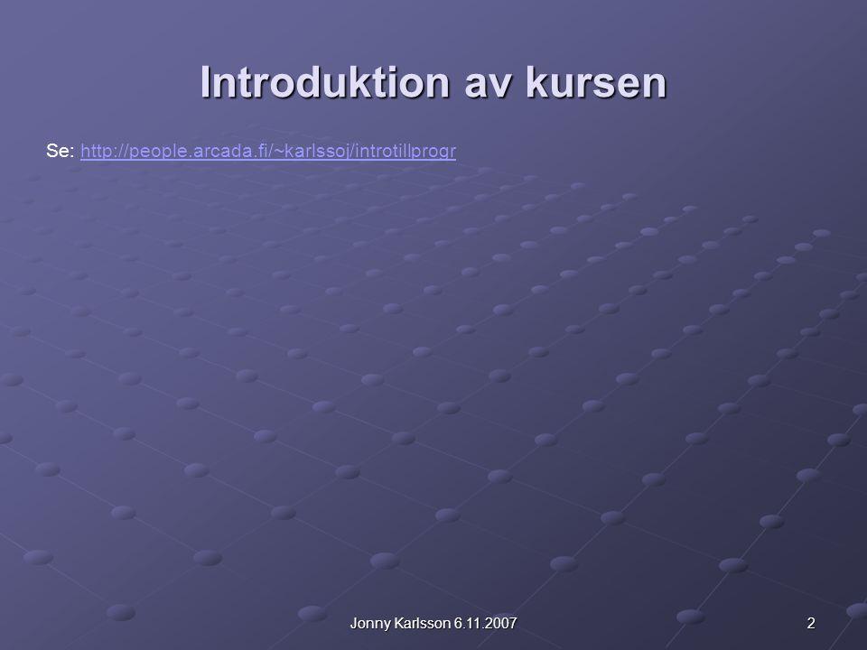 Introduktion av kursen