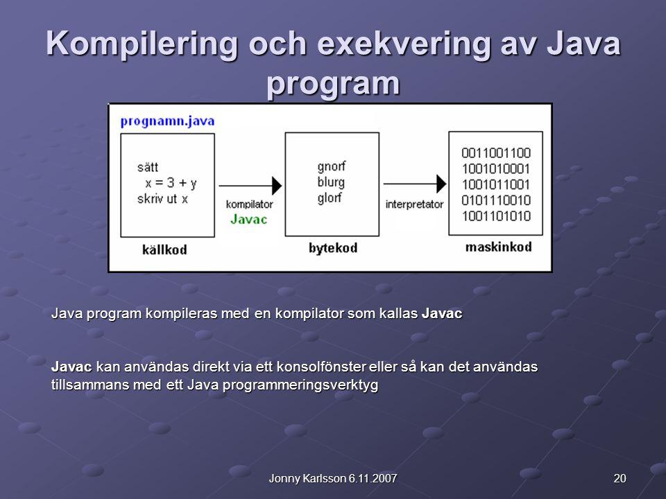 Kompilering och exekvering av Java program