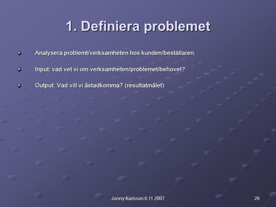 1. Definiera problemet Analysera problemt/verksamheten hos kunden/beställaren. Input: vad vet vi om verksamheten/problemet/behovet