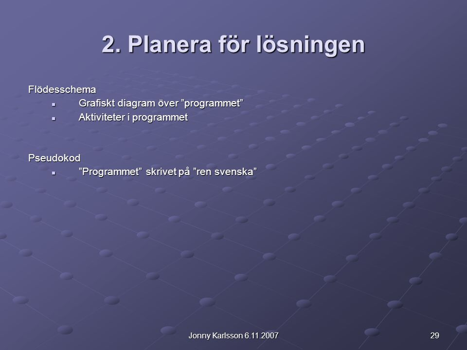 2. Planera för lösningen Flödesschema