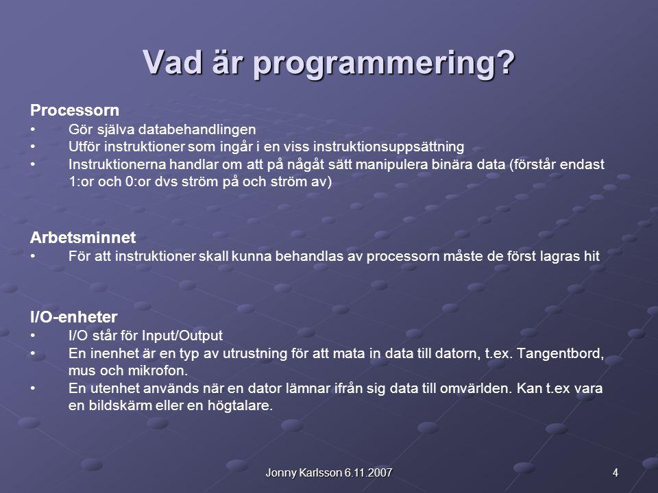 Vad är programmering Processorn Arbetsminnet I/O-enheter