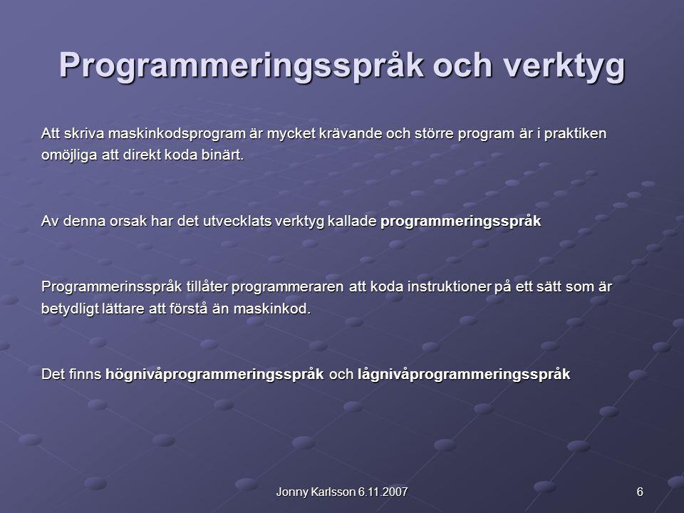 Programmeringsspråk och verktyg