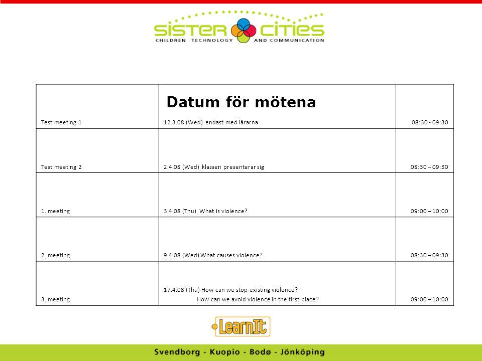Datum för mötena Test meeting 1 12.3.08 (Wed) endast med lärarna