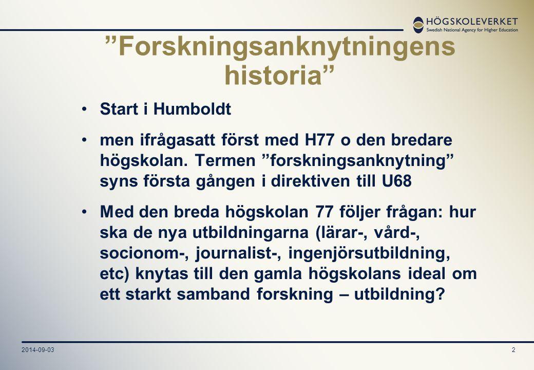 Forskningsanknytningens historia