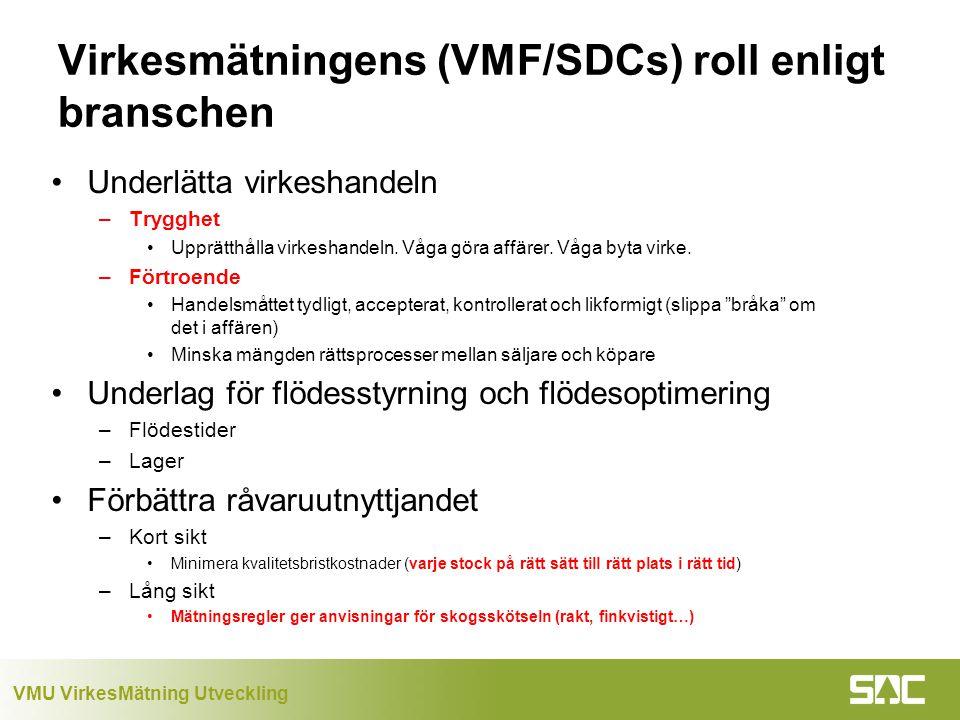 Virkesmätningens (VMF/SDCs) roll enligt branschen
