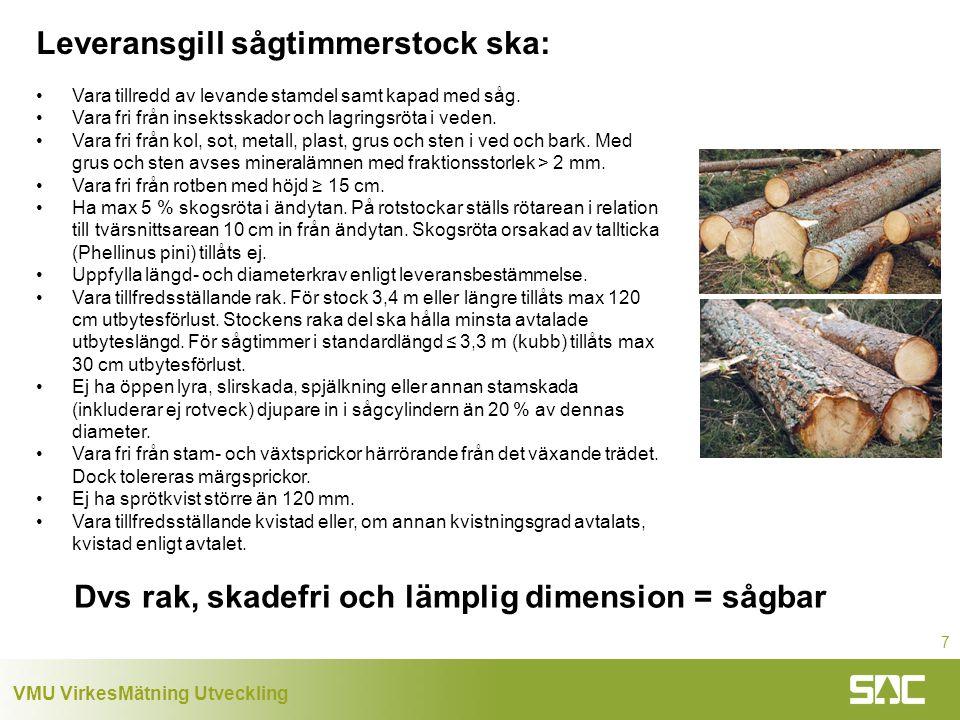 Leveransgill sågtimmerstock ska: