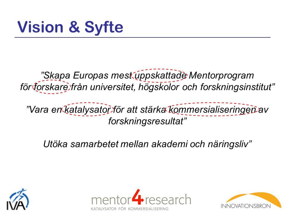 Vision & Syfte Skapa Europas mest uppskattade Mentorprogram