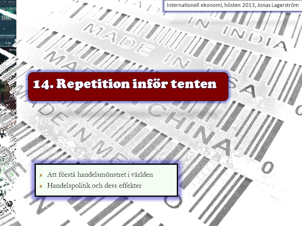 14. Repetition inför tenten