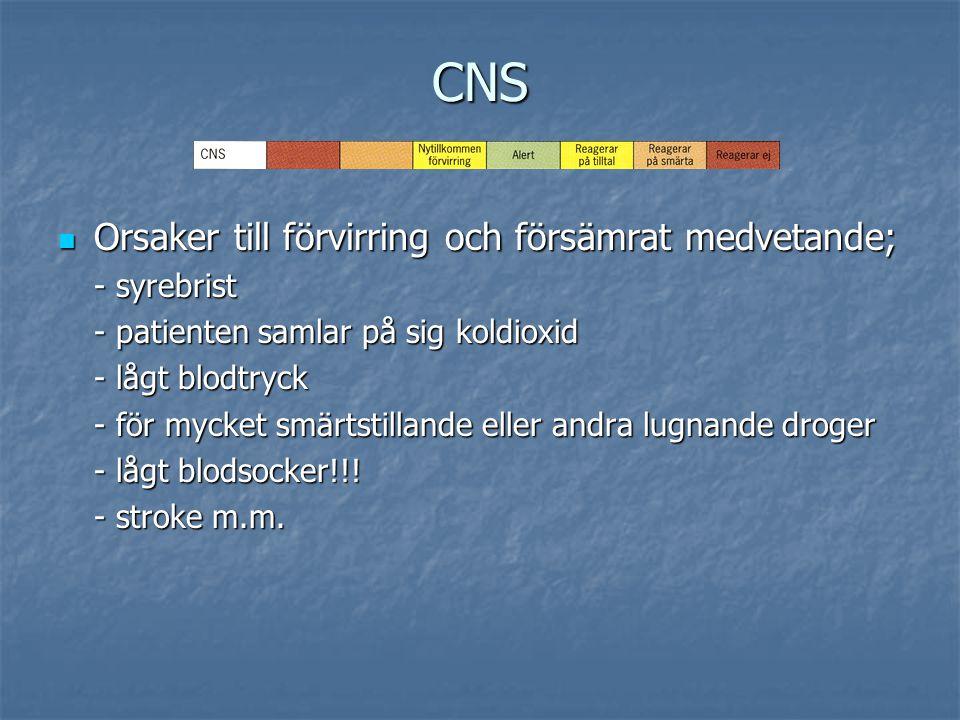 CNS Orsaker till förvirring och försämrat medvetande; - syrebrist