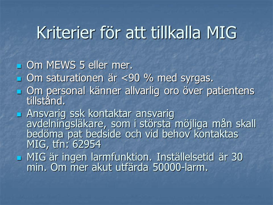 Kriterier för att tillkalla MIG