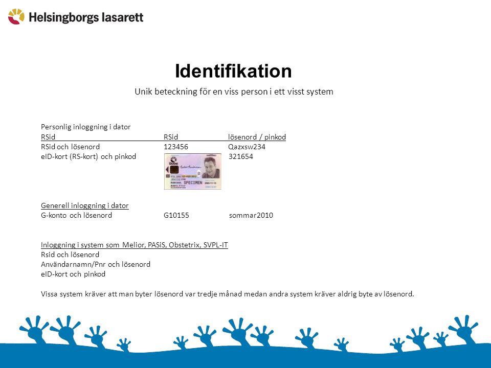 Identifikation Unik beteckning för en viss person i ett visst system