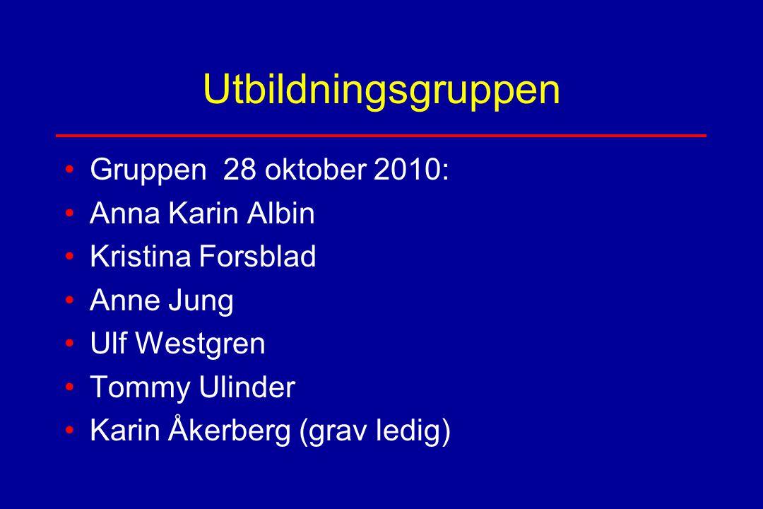 Utbildningsgruppen Gruppen 28 oktober 2010: Anna Karin Albin