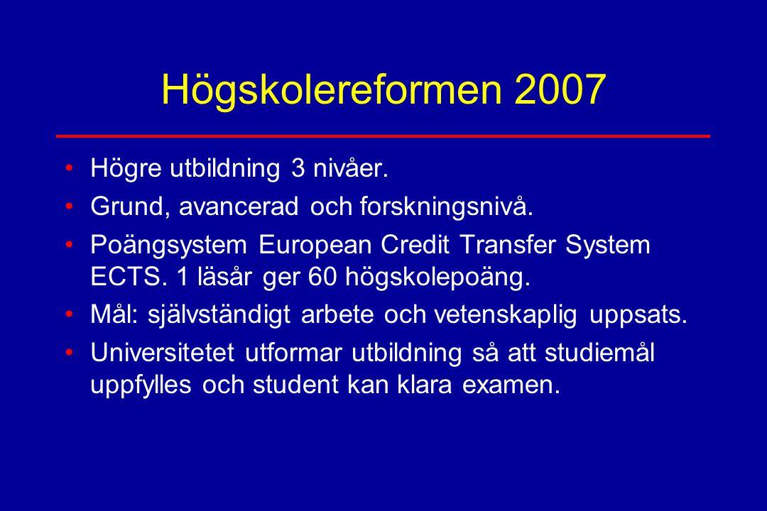 Högskolereformen 2007 Högre utbildning 3 nivåer.