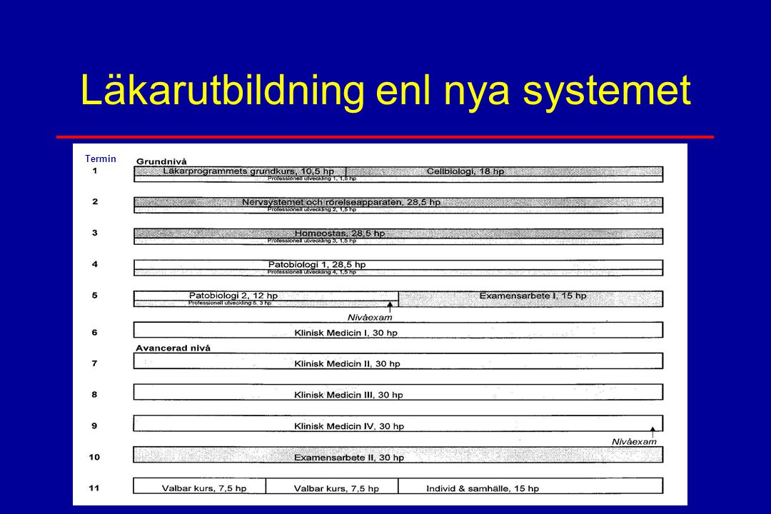 Läkarutbildning enl nya systemet