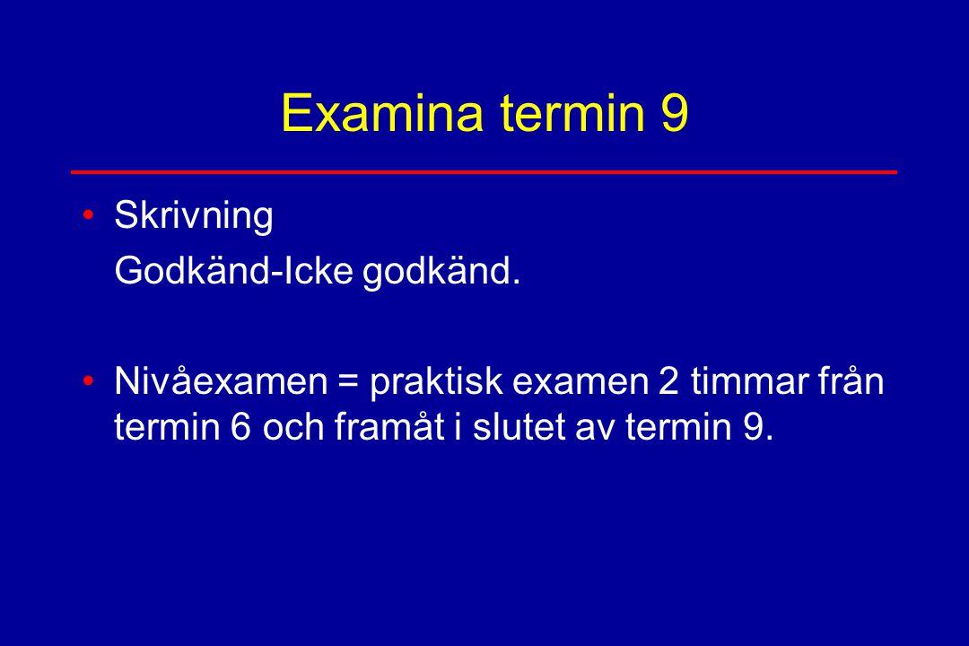 Examina termin 9 Skrivning Godkänd-Icke godkänd.