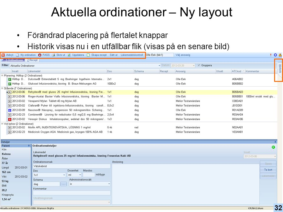 Aktuella ordinationer – Ny layout
