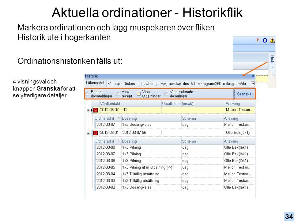 Aktuella ordinationer - Historikflik