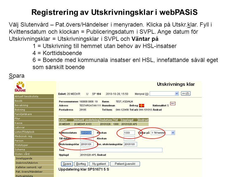 Registrering av Utskrivningsklar i webPASiS