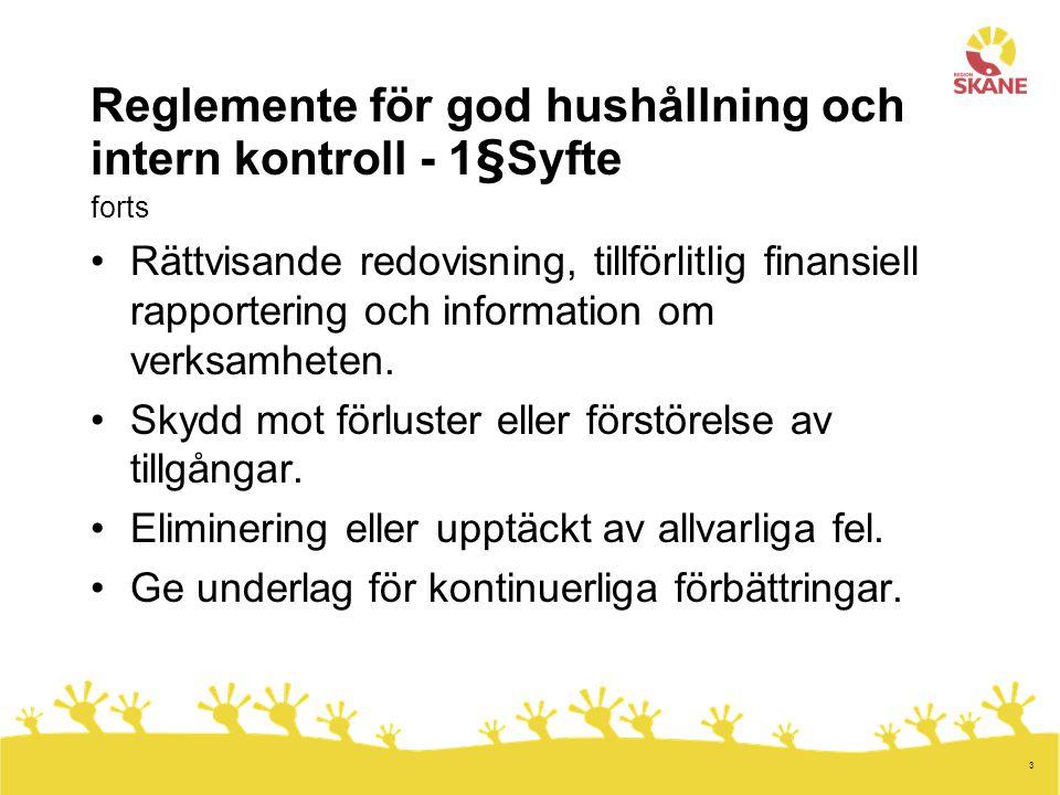 Reglemente för god hushållning och intern kontroll - 1§Syfte forts