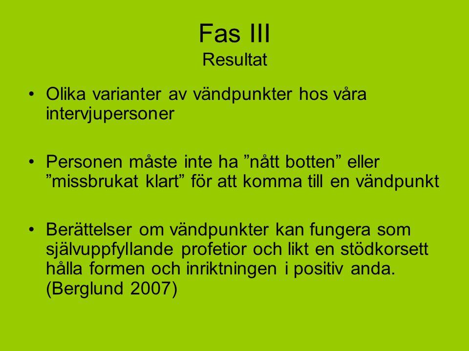 Fas III Resultat Olika varianter av vändpunkter hos våra intervjupersoner.