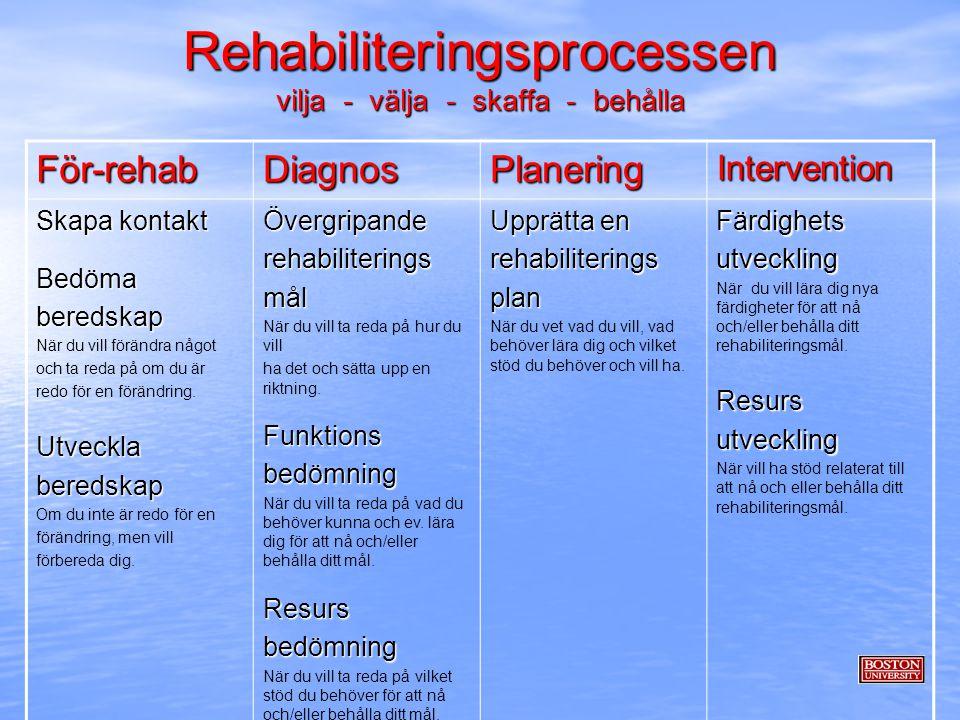 Rehabiliteringsprocessen vilja - välja - skaffa - behålla