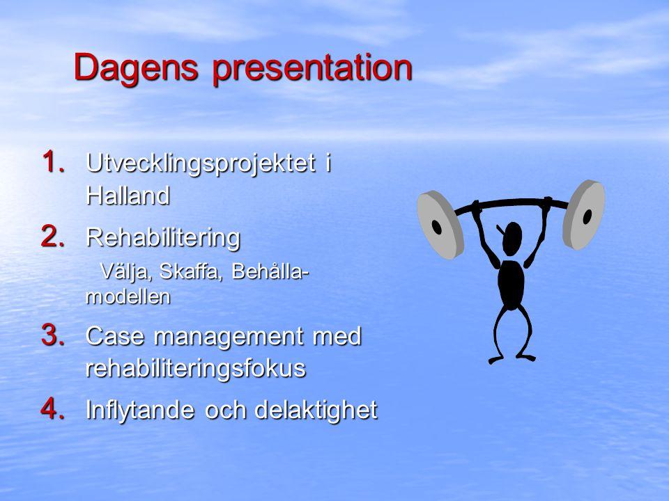 Dagens presentation 1. Utvecklingsprojektet i Halland