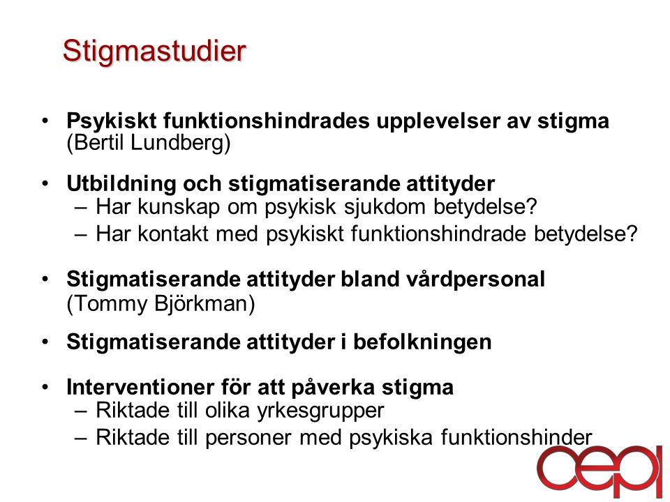 Stigmastudier Psykiskt funktionshindrades upplevelser av stigma (Bertil Lundberg) Utbildning och stigmatiserande attityder.