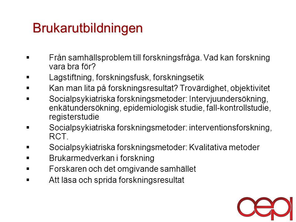 Brukarutbildningen Från samhällsproblem till forskningsfråga. Vad kan forskning vara bra för Lagstiftning, forskningsfusk, forskningsetik.