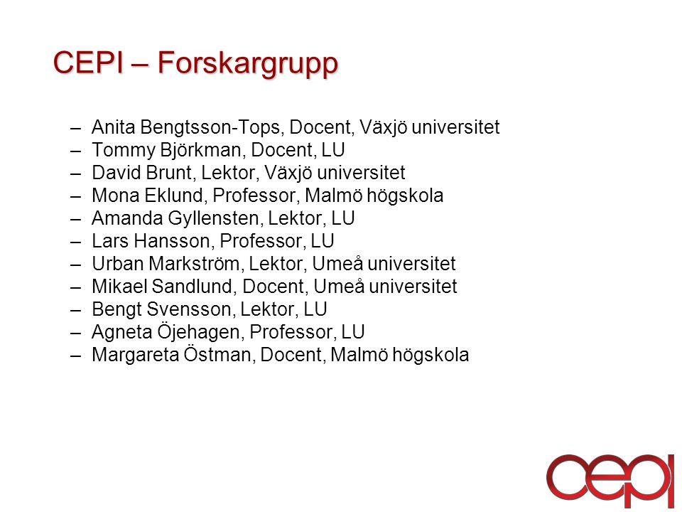 CEPI – Forskargrupp Anita Bengtsson-Tops, Docent, Växjö universitet