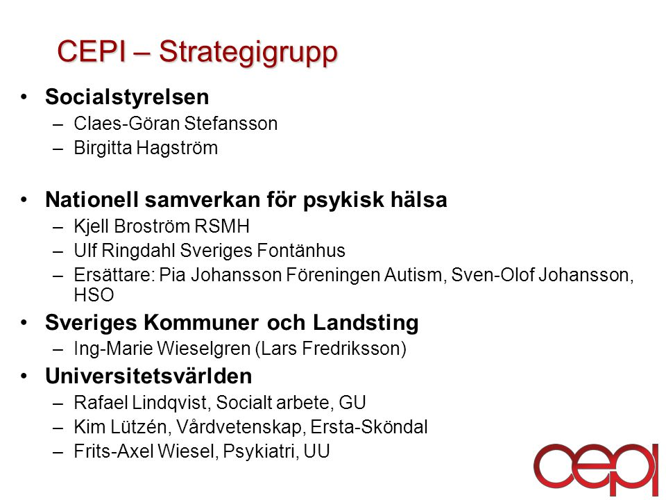 CEPI – Strategigrupp Socialstyrelsen