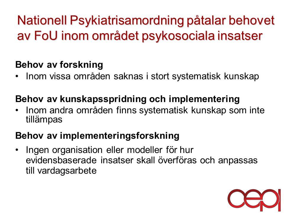 Nationell Psykiatrisamordning påtalar behovet av FoU inom området psykosociala insatser