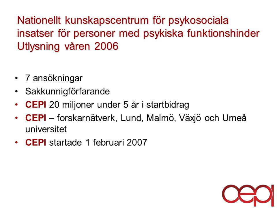 Nationellt kunskapscentrum för psykosociala insatser för personer med psykiska funktionshinder Utlysning våren 2006