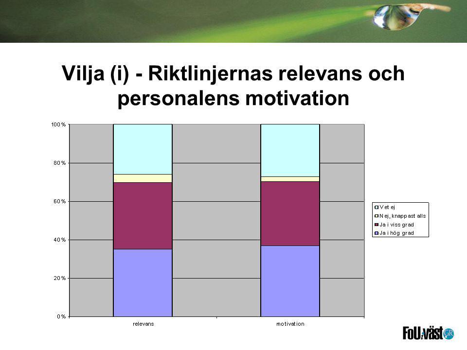 Vilja (i) - Riktlinjernas relevans och personalens motivation